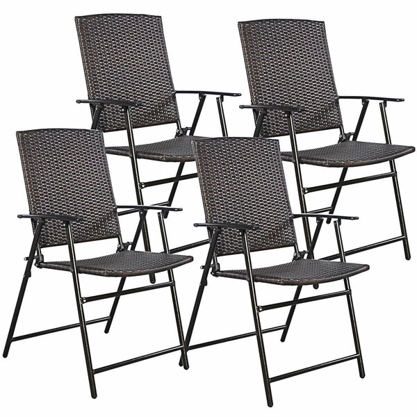 Kriebel Rattan Folding Patio Dining Chair (Set of 4) by Ebern Designs