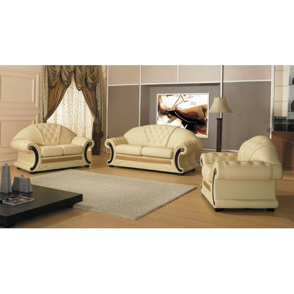 Crase Traditional 3 Piece Leather Living Room Set by Bloomsbury Market