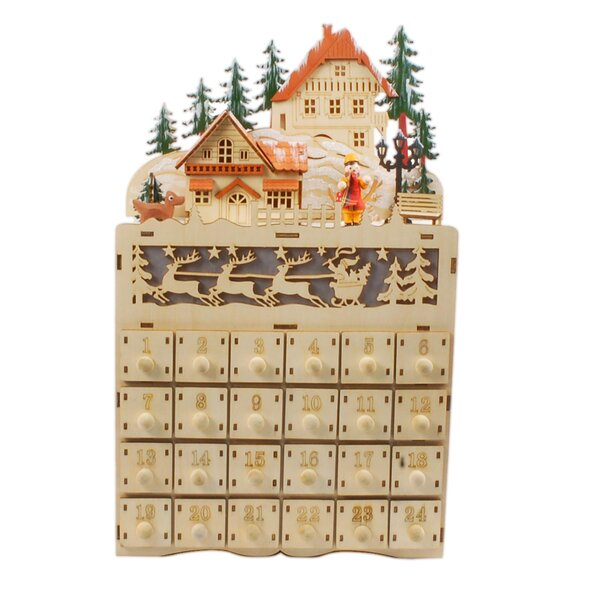 Wooden Advent Calendar with Lights by Jeco Inc.