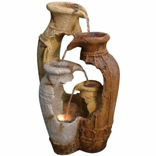 Fiberglass Distressed Pots Water Fountain with Light by Alpine