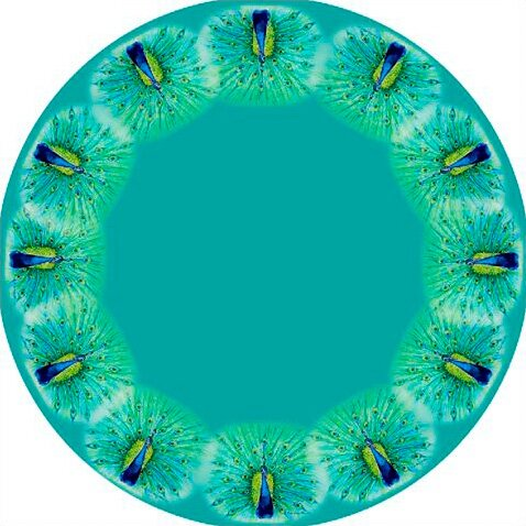 Peacock Round Tablecloth by Betsy Drake Interiors