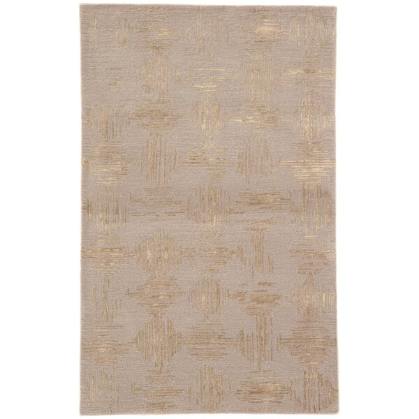 Kneeland Geometric Hand-Tufted Taupe/Gold Area Rug by Mercer41