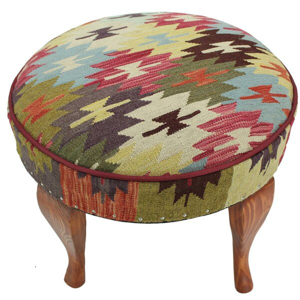 Stetler Kilim Upholstered Handmade Ottoman by Bloomsbury Market