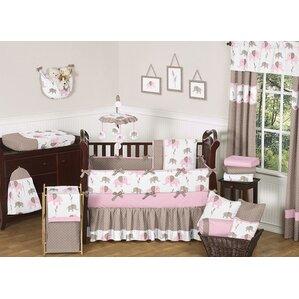 elephant 9 piece crib bedding set