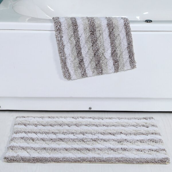Cardoso Ring-Spun Cotton Textured Bath Rug (Set of 2) by Highland Dunes
