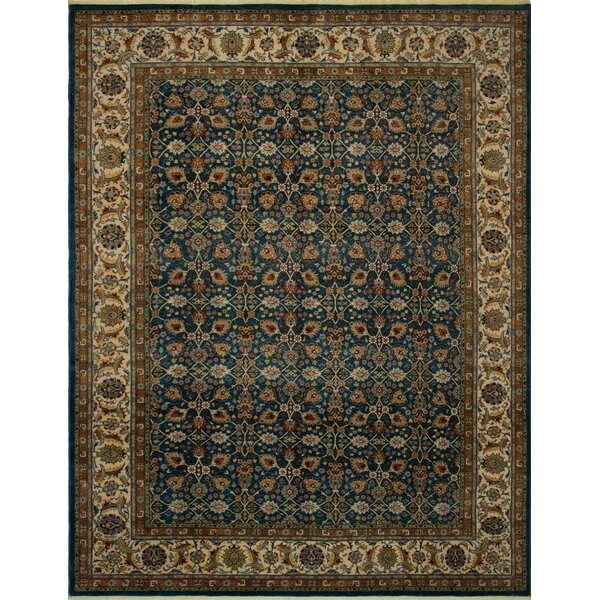 Branner Turkish Hand-Knotted Wool Blue/Beige Area Rug by World Menagerie
