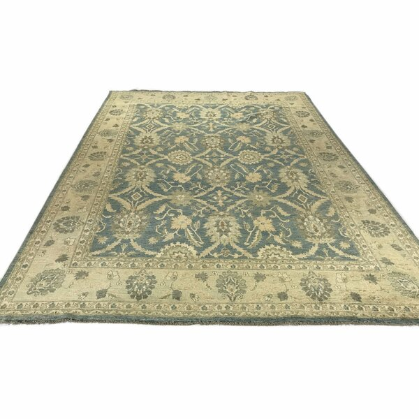 One-of-a-Kind Hand-Knotted Green 7'10 x 10'9 Wool Area Rug