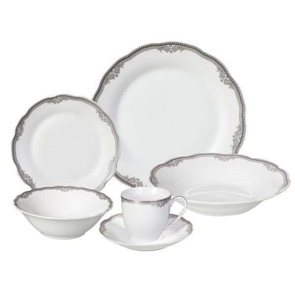 Elizabeth 24 Piece Porcelain Dinnerware Set, Service for 4 by Lorren Home Trends