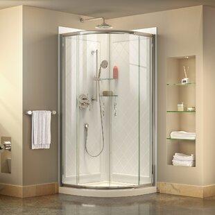 Curved shower stalls enclosures youll love wayfair prime frameless 33 x 33 x 7675 curved sliding shower enclosure planetlyrics Image collections
