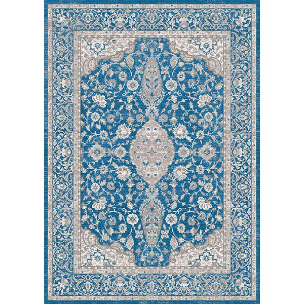 Aurore Traditional Style Ocean Blue Area Rug by Darby Home Co