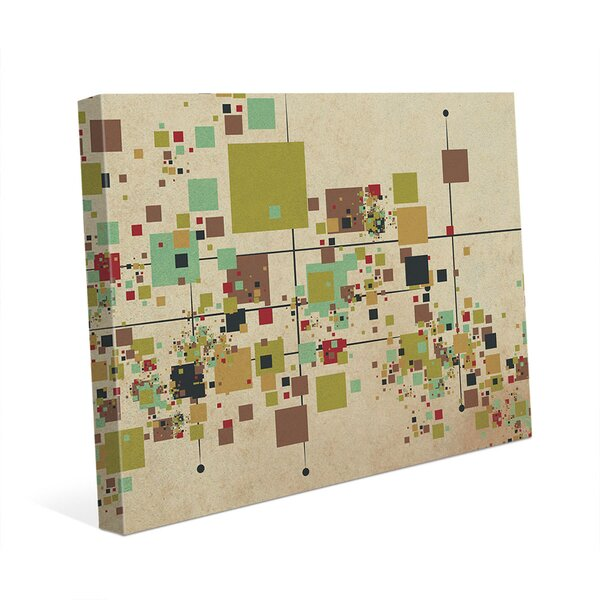 Khaki Pixel Party Graphic Art on Wrapped Canvas by Click Wall Art