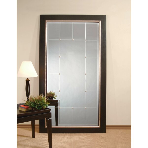 Rectangle Black and Silver Leaf Wood Leaner Mirror by Red Barrel Studio