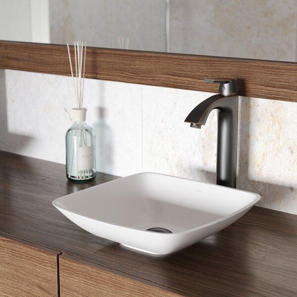Matte Stone Square Vessel Bathroom Sink by VIGO