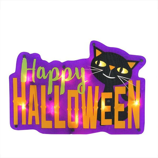 Lighted Happy Halloween Sign with Cat Window Silhouette Decoration by Northlight Seasonal