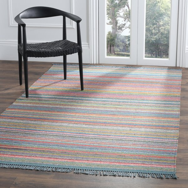 Sojourn Hand-Woven Blue/Orange Area Rug by Ivy Bronx