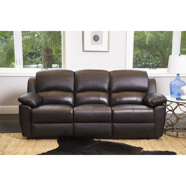 Veazey Leather Reclining Sofa by Darby Home Co