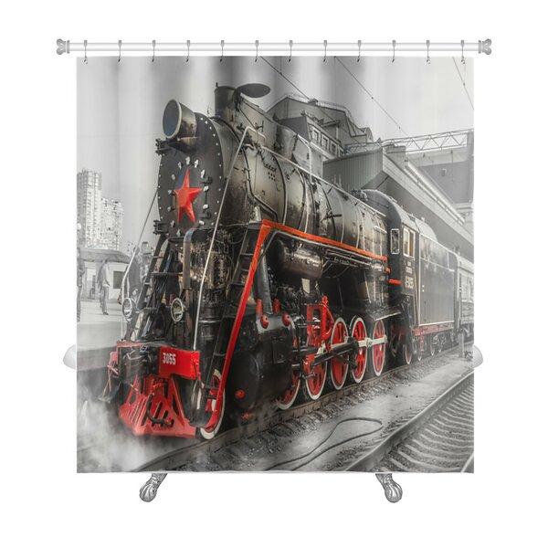 Vintage Old Steam Locomotive, Vintage Train Premium Shower Curtain by Gear New