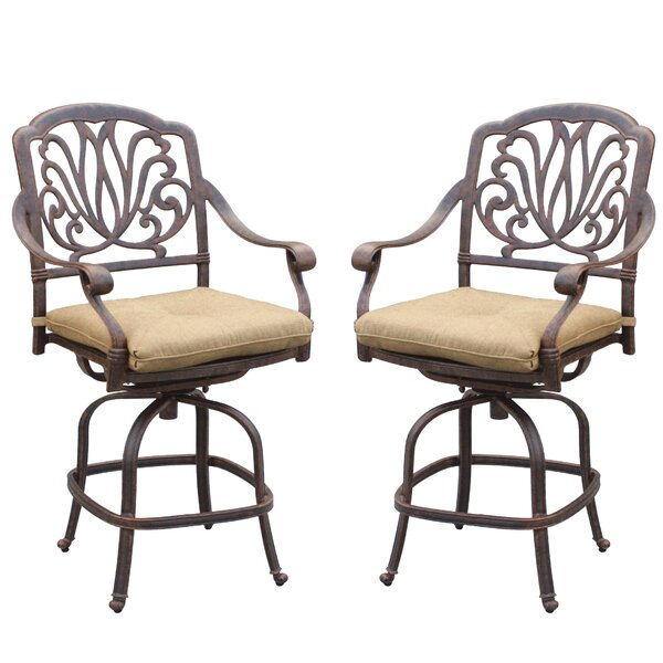 Lebanon 47 Patio Bar Stool with Cushion (Set of 2) by Three Posts