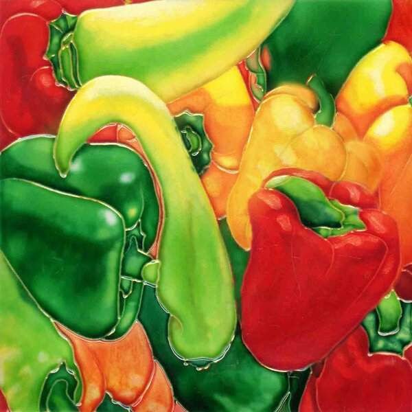 Chilipeper in Green, Yellow and Red Tile Wall Decor by Continental Art Center