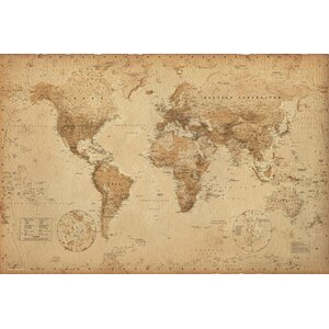 'World Map Antique' Graphic Art Print Poster by Alcott Hill