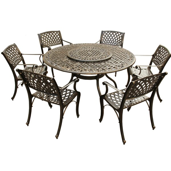 Casler Traditional Mesh Lattice 7 Piece Dining Set by Fleur De Lis Living