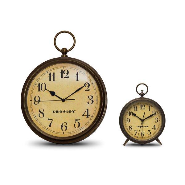 Antique 2 Piece Table Clock Set by Crosley