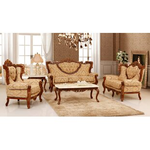 3 Piece Brown/Gold Embossed Fabric Living Room Set by Bloomsbury Market