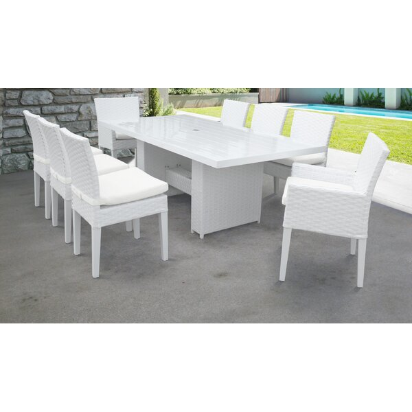 Burgoon 9 Piece Dining Set with Cushions by Orren Ellis
