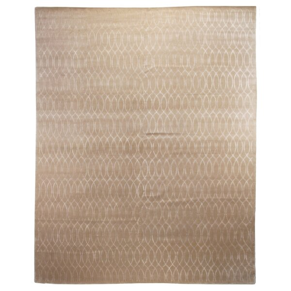Hand-Knotted Wool/Silk Ivory Area Rug by Exquisite Rugs