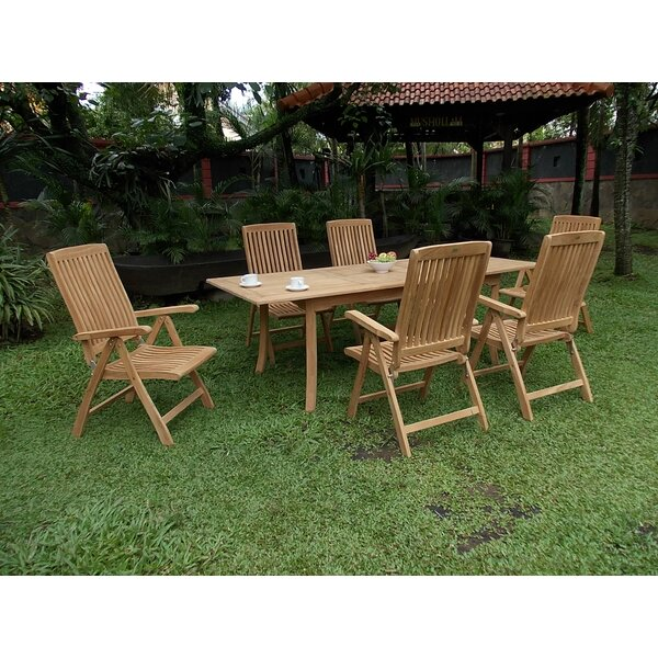 Farallones Luxurious 7 Piece Teak Dining Set by Rosecliff Heights