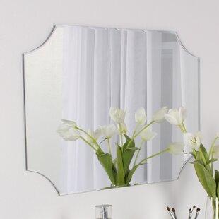 DesignOvation Reign Frameless Rectangle Scalloped Beveled Wall Mirror