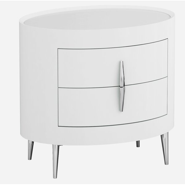 Oram Modern 2 Drawer Nightstand by Orren Ellis