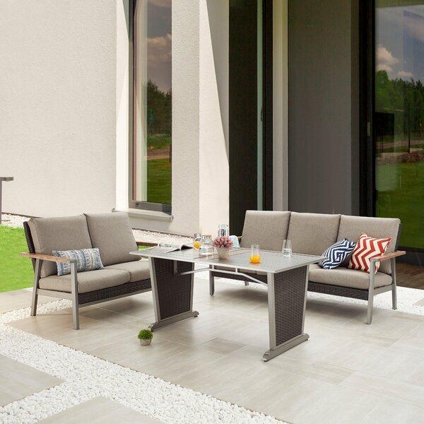 Selda 3 Piece Dining Set with Cushions