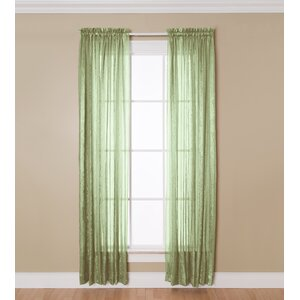 Aria Striped Sheer Rod Pocket Single Curtain Panel