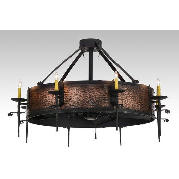 Knighton 10 - Light Candle Style Wagon Wheel Chandelier by Loon Peak Loon Peak