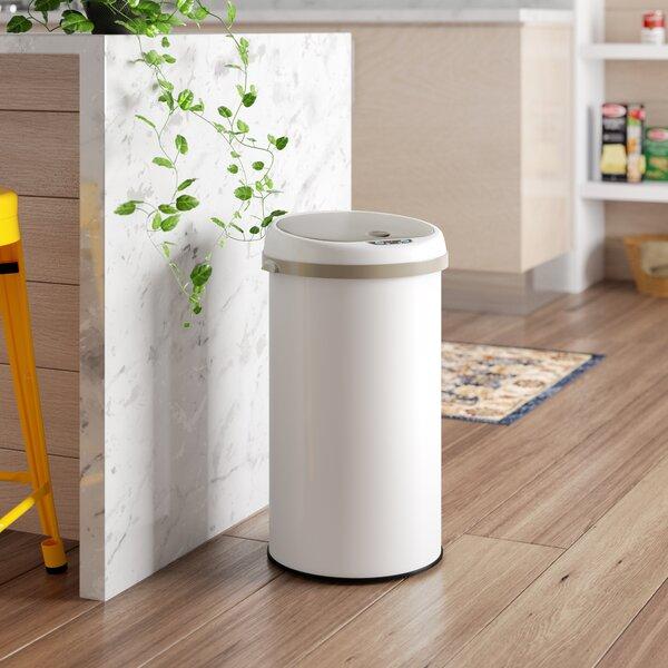 Motion Sensor Metal 8 Gallon Trash Can by Rebrilliant