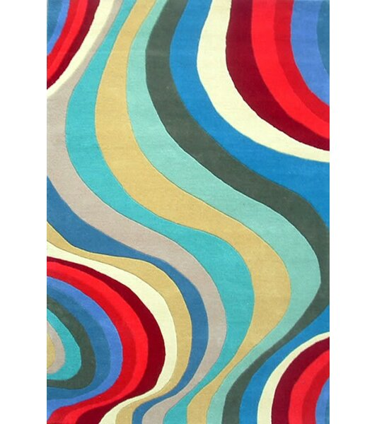 Modern Blue/Red Area Rug by Acura Rugs