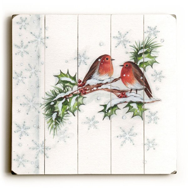 Birds on Mistletoe Graphic Art Plaque by Red Barrel Studio