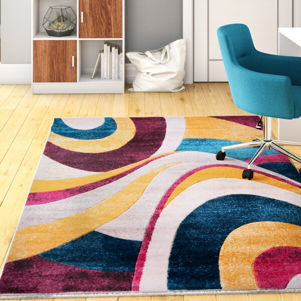 Dufresne Purple/Yellow Area Rug by Ebern Designs