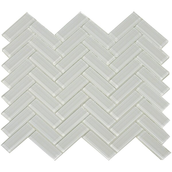 Herringbone Shiny 3 x 1 Glass Mosaic Tile in Mist by The Bella Collection