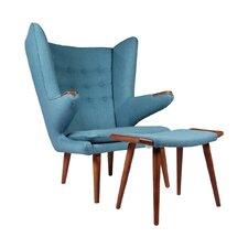 Papa Bear Wingback Chair and Ottoman by Joseph Allen