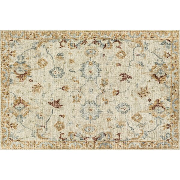 Fitzwater Hand-Hooked Wool Ivory Area Rug by Charlton Home