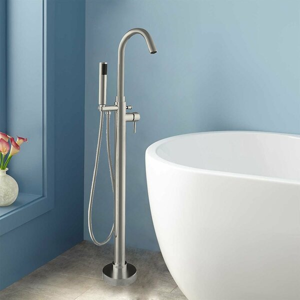Single Handle Floor Mounted Freestanding Tub Filler With Hand Shower By Woodbridge.