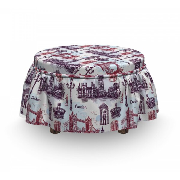 London City Landmarks Sketch 2 Piece Box Cushion Ottoman Slipcover Set By East Urban Home