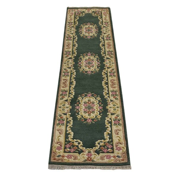 Fetters Oriental Hand-Knotted Wool Green/Ivory Area Rug by Astoria Grand