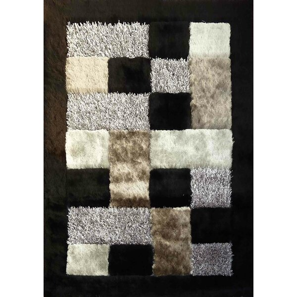 Shaggy Viscose Design Black Area Rug by Rug Factory Plus