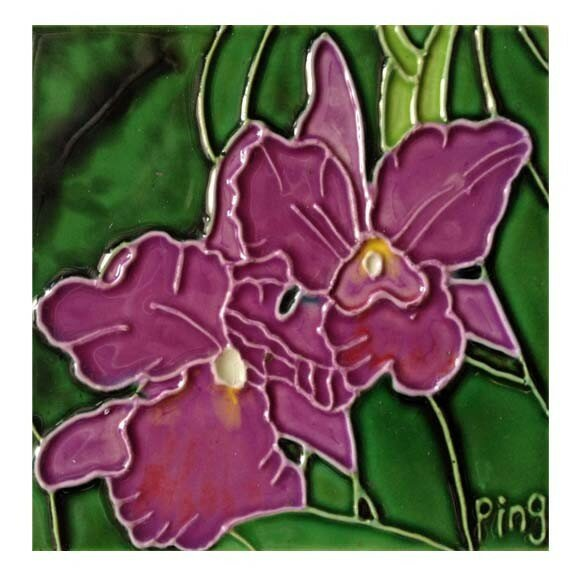 Orchid Tile Wall Decor by Continental Art Center