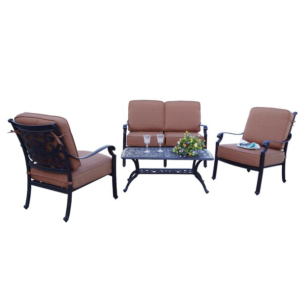 Berenice Patio 4 Piece Sofa Seating Group with Cushions by Astoria Grand