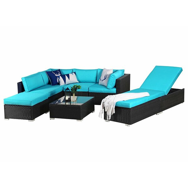 Sunay Outdoor 7 Piece Rattan Sectional Seating Group with Cushions by Latitude Run Latitude Run