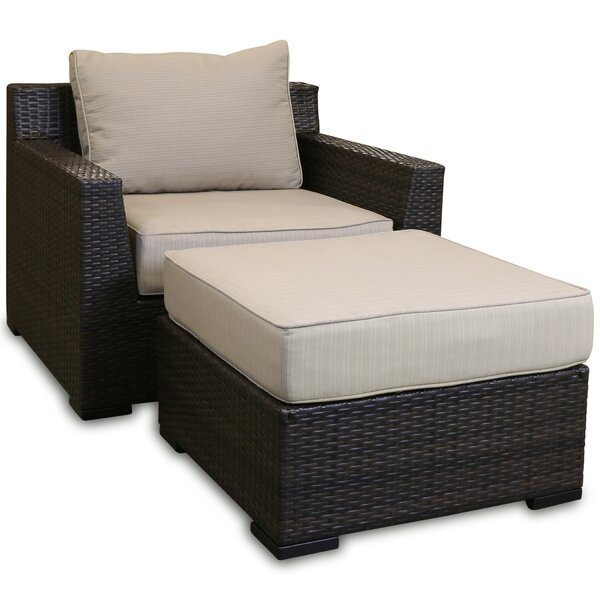 Darden Patio Chair with Cushions and Ottoman by Rosecliff Heights
